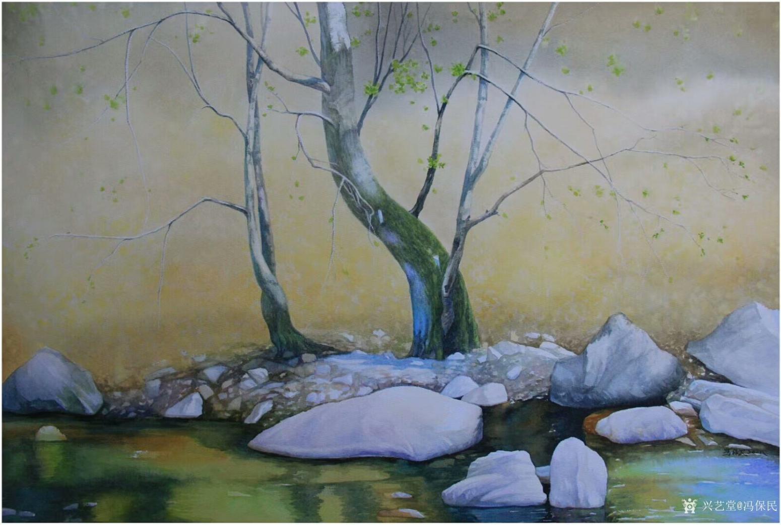 冯保民油画作品《宁静的湖畔》