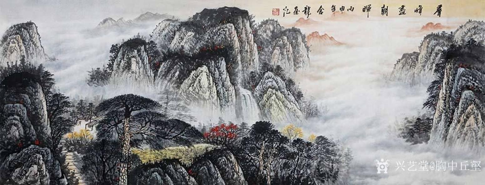 胸中丘壑国画作品《层峰尽朝晖》