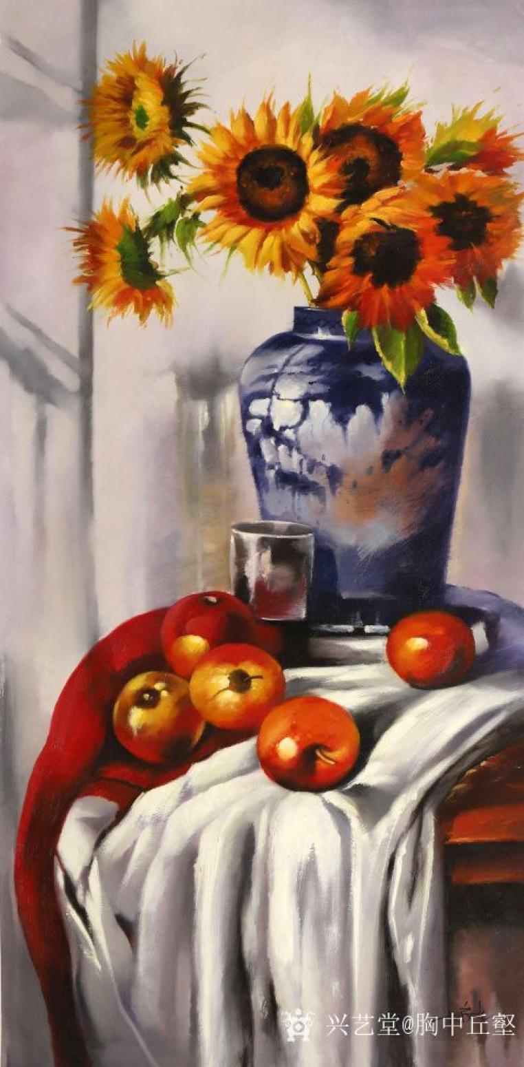 胸中丘壑油画作品《古典静物·花》