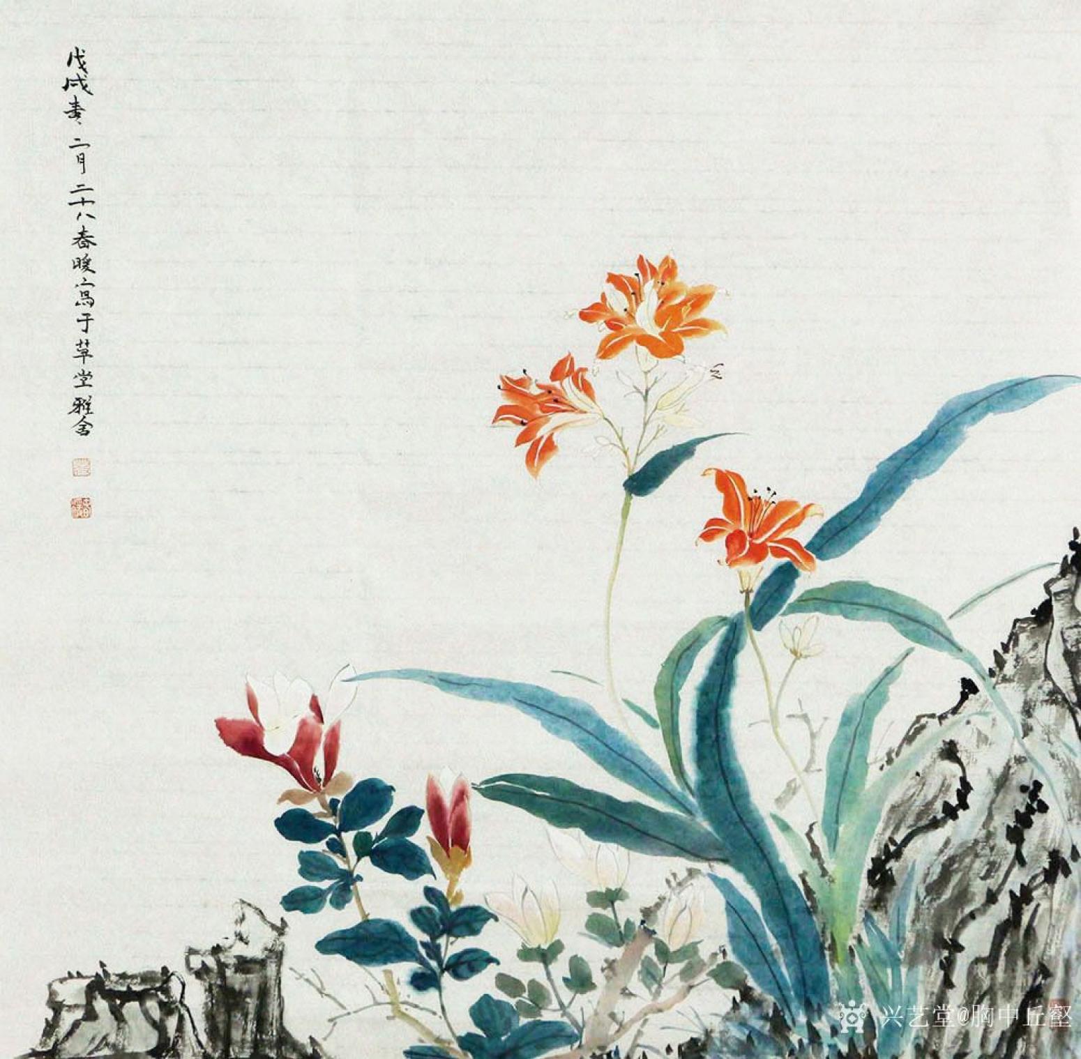 胸中丘壑国画作品《花》
