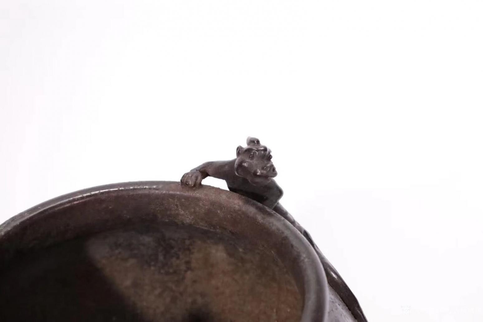 东方古玩城堡文玩杂项作品《双螭龙耳铜炉》【图1】
