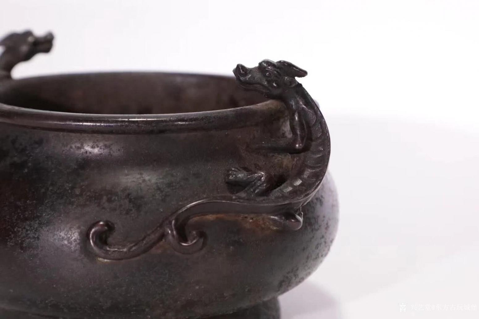 东方古玩城堡文玩杂项作品《双螭龙耳铜炉》【图4】