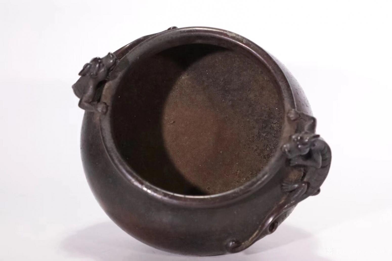 东方古玩城堡文玩杂项作品《双螭龙耳铜炉》【图7】