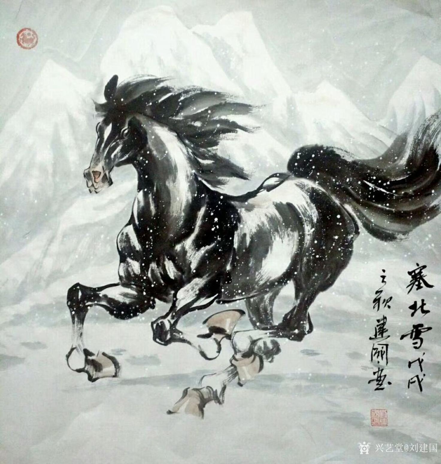 刘建国国画作品《塞北雪》