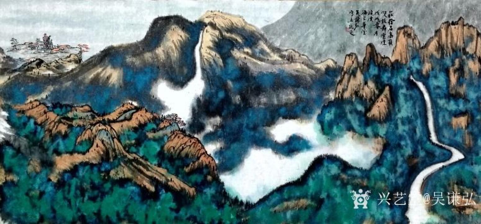 吴谦弘国画作品《双龙舞云烟》