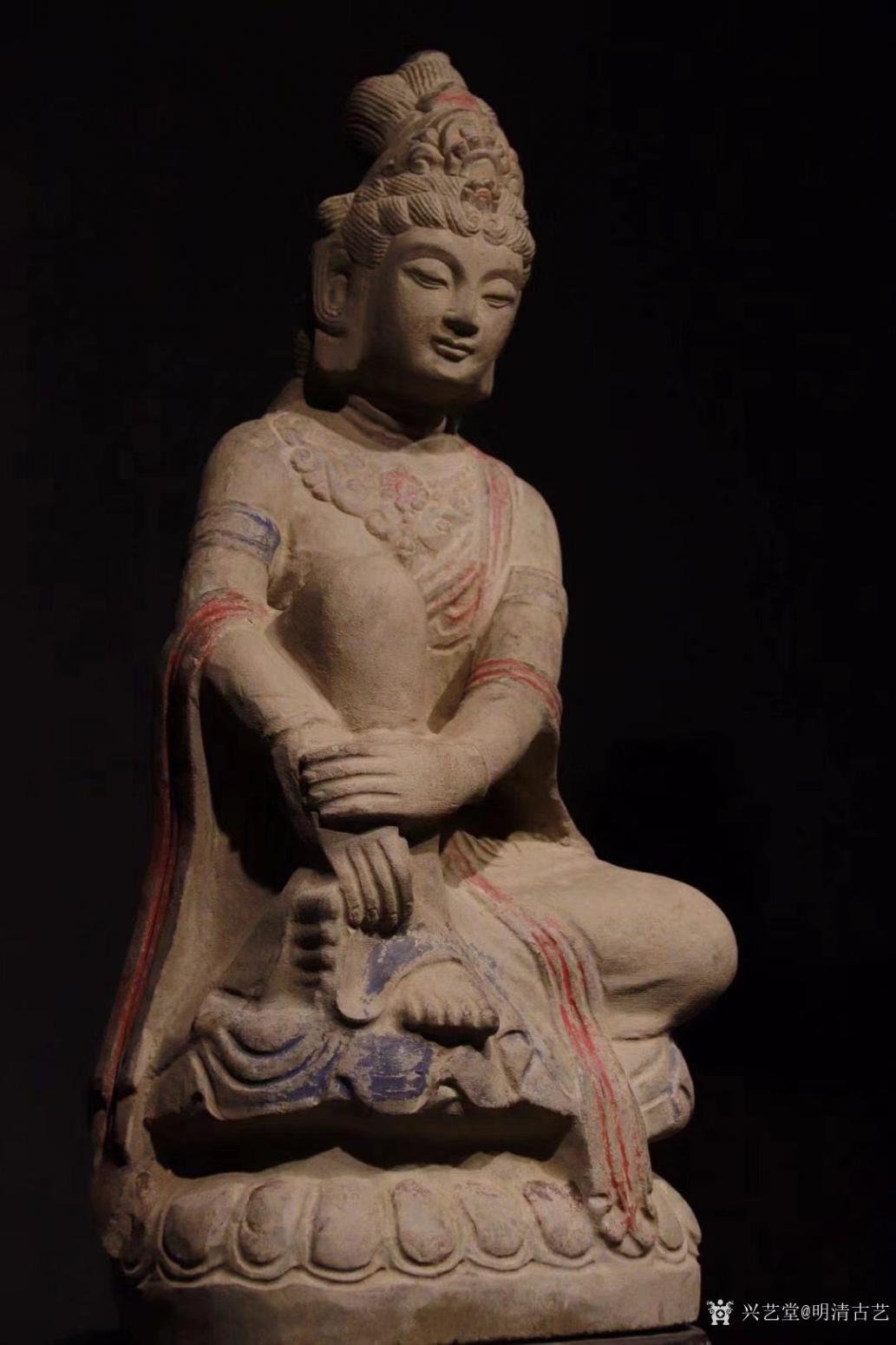 明清古艺雕刻作品《收藏品:观音石像》