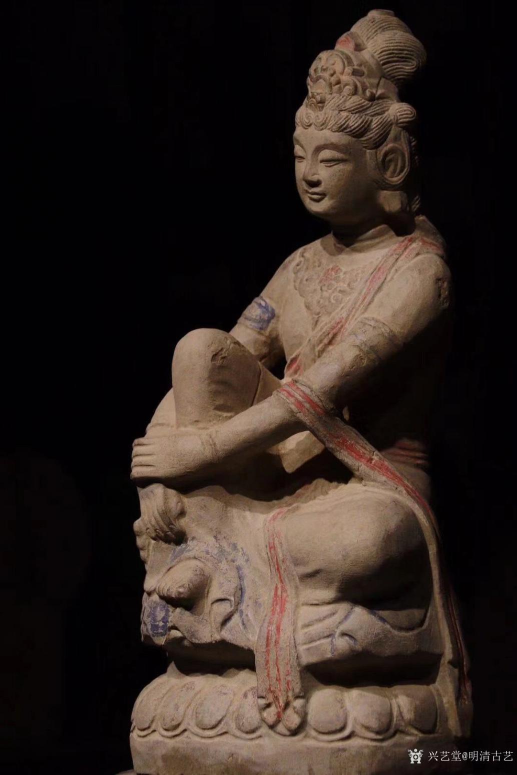 明清古艺雕刻作品《收藏品:观音石像》【图0】