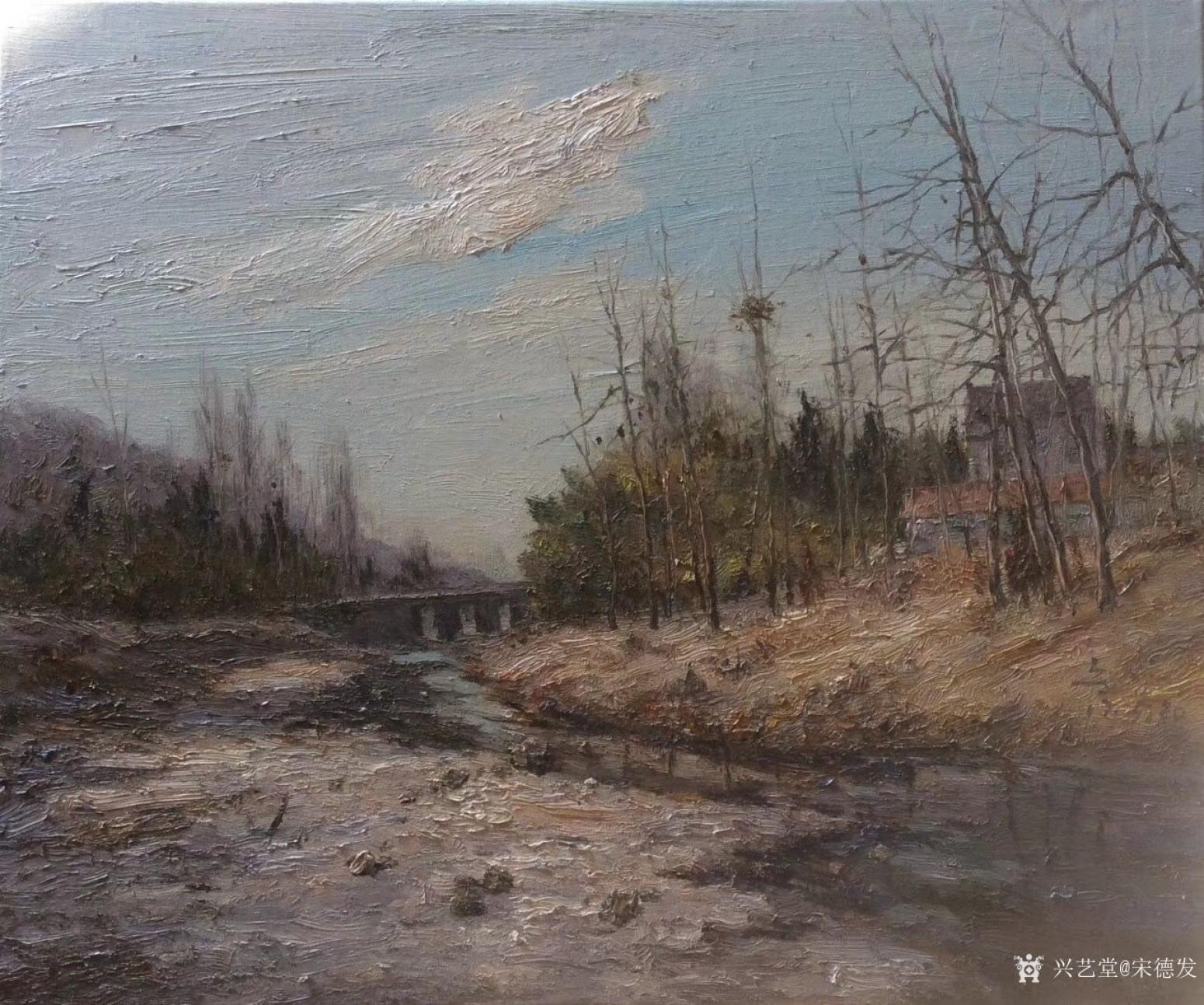 宋德发油画作品《村边的小溪》
