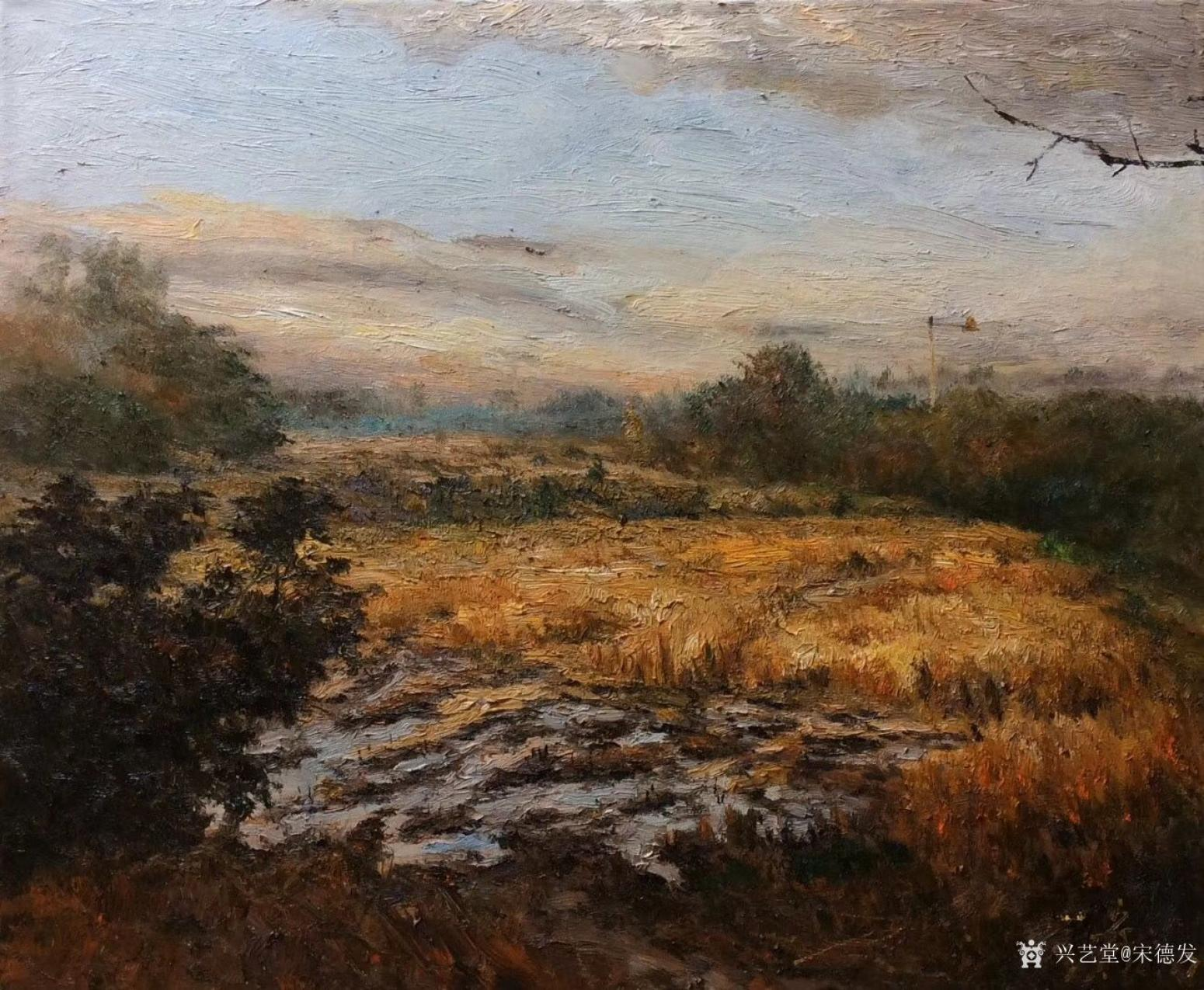 宋德发油画作品《湿地的早晨》
