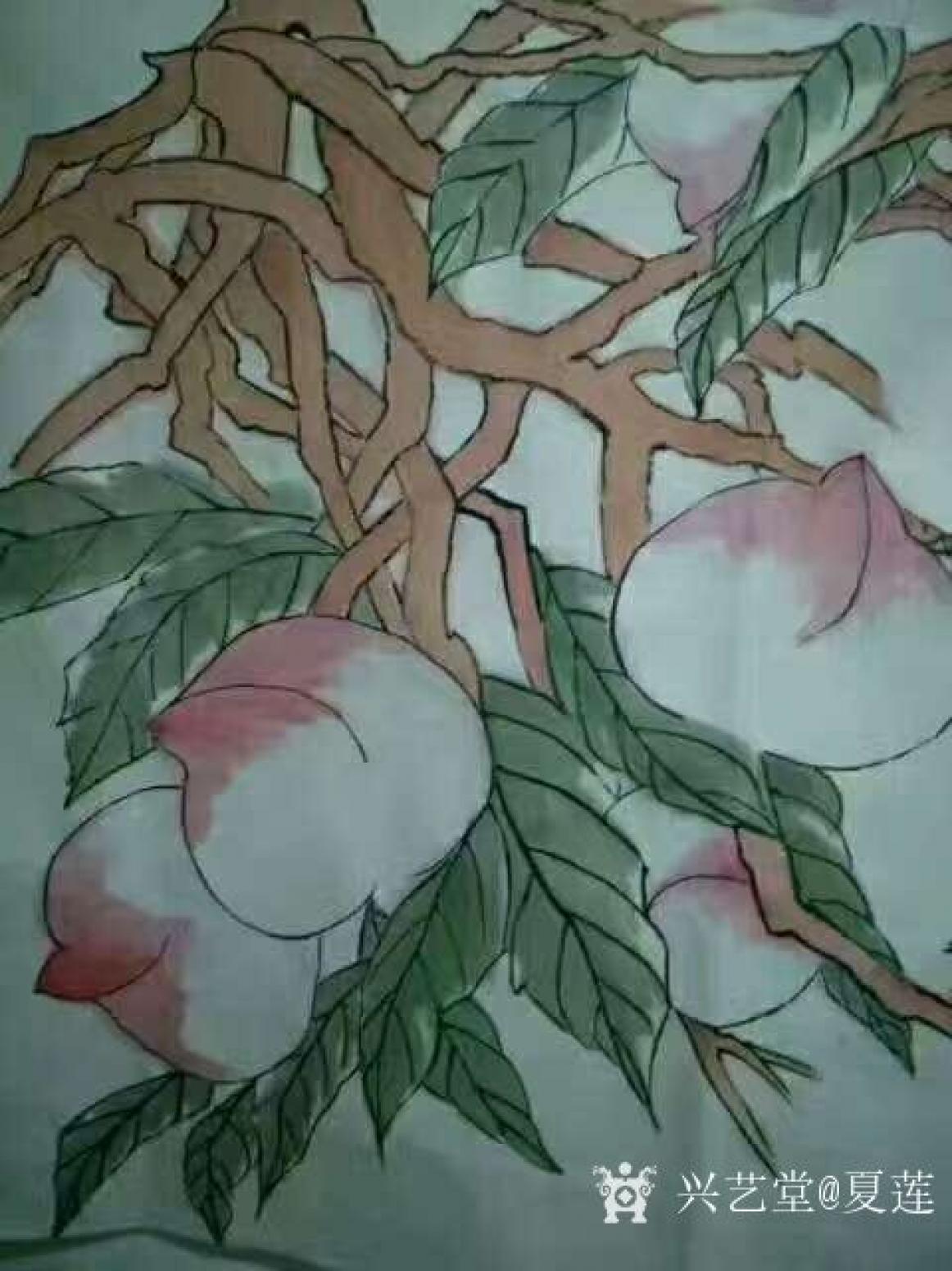 夏莲国画作品《千年寿桃》