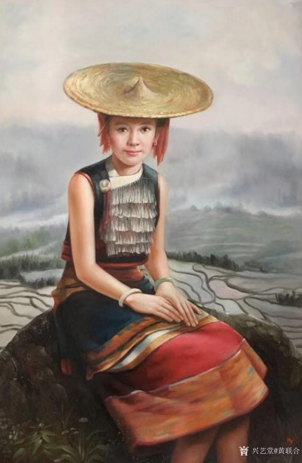 黄联合油画作品《少数民族人物油画》