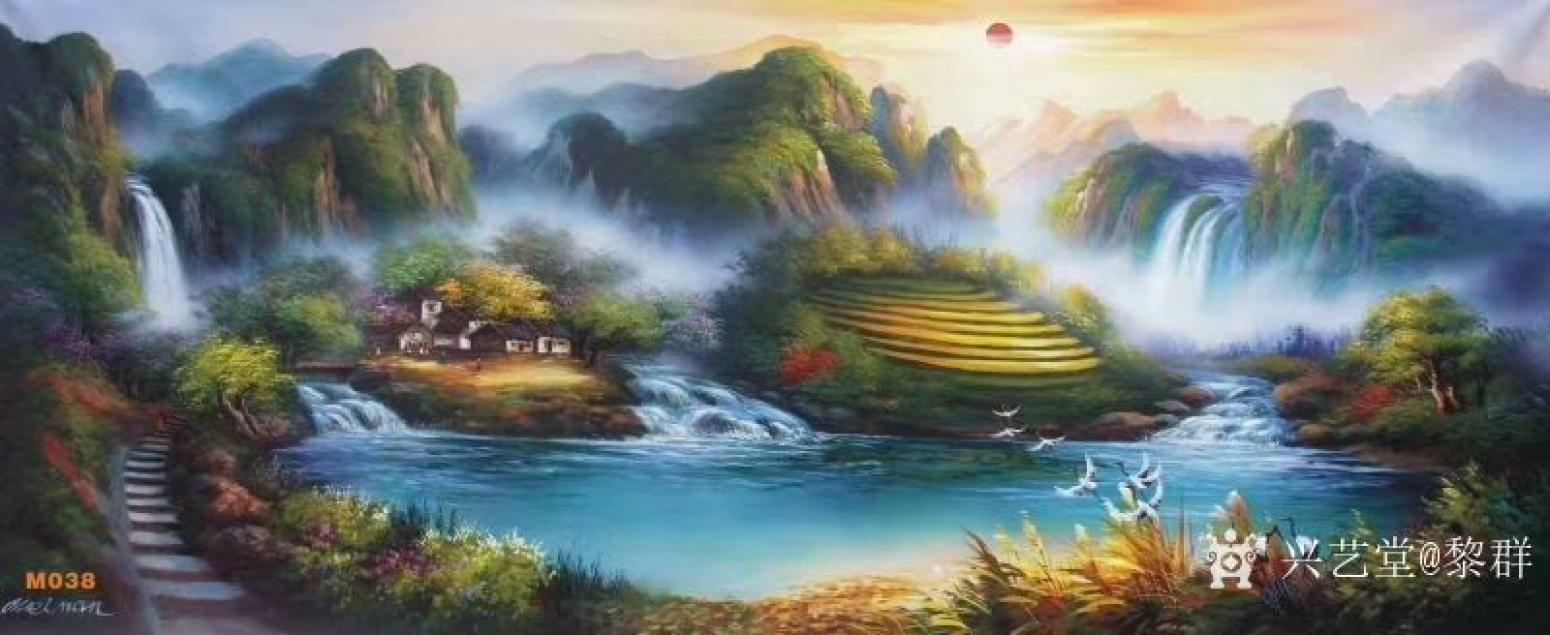 黎群油画作品《风景油画-聚宝盆》