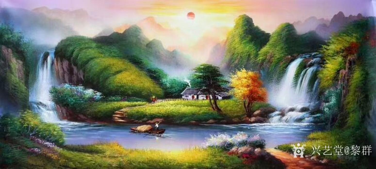 黎群油画作品《风景油画-幸福家园》