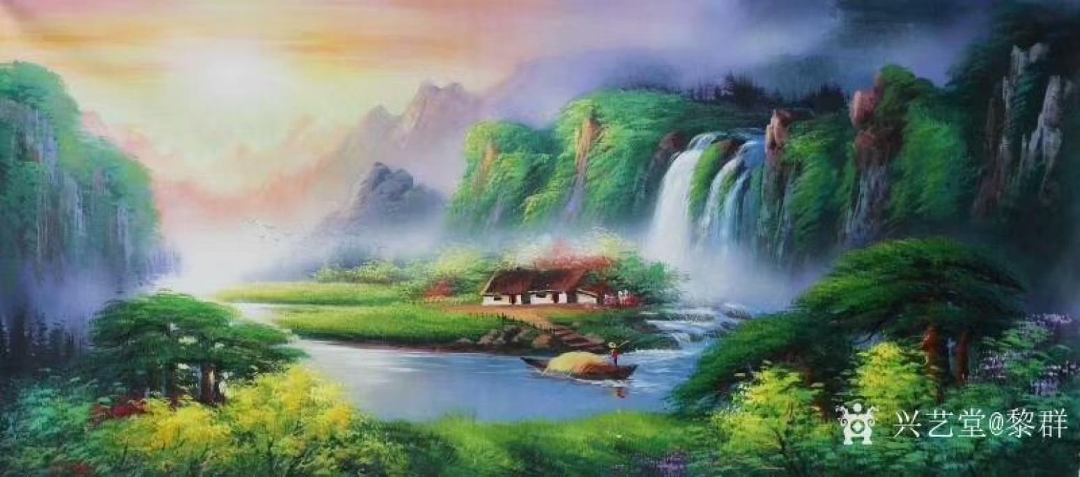 黎群油画作品《风景油画-绿水青山》
