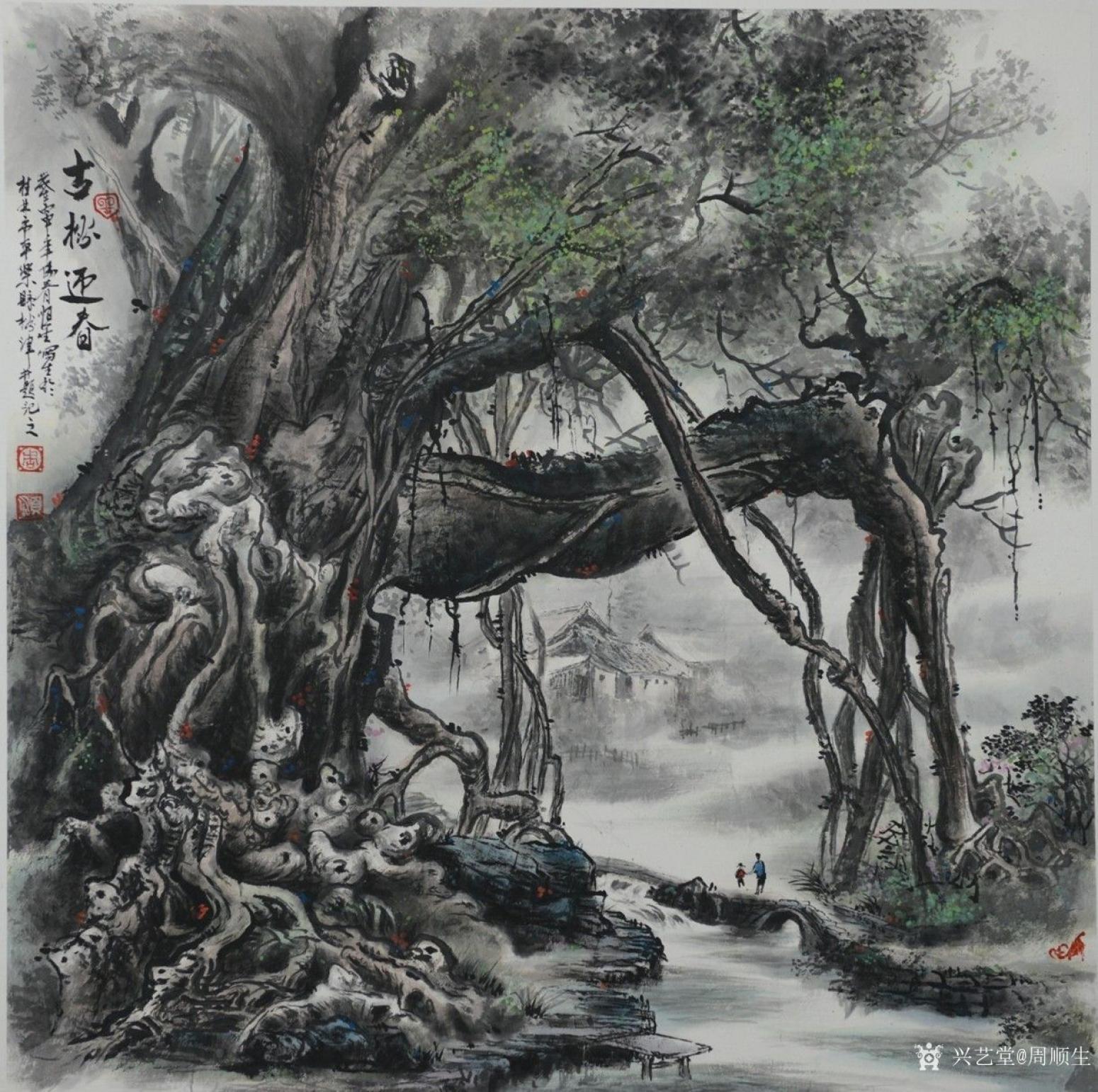 周顺生国画作品《四尺斗方古榕迎春》
