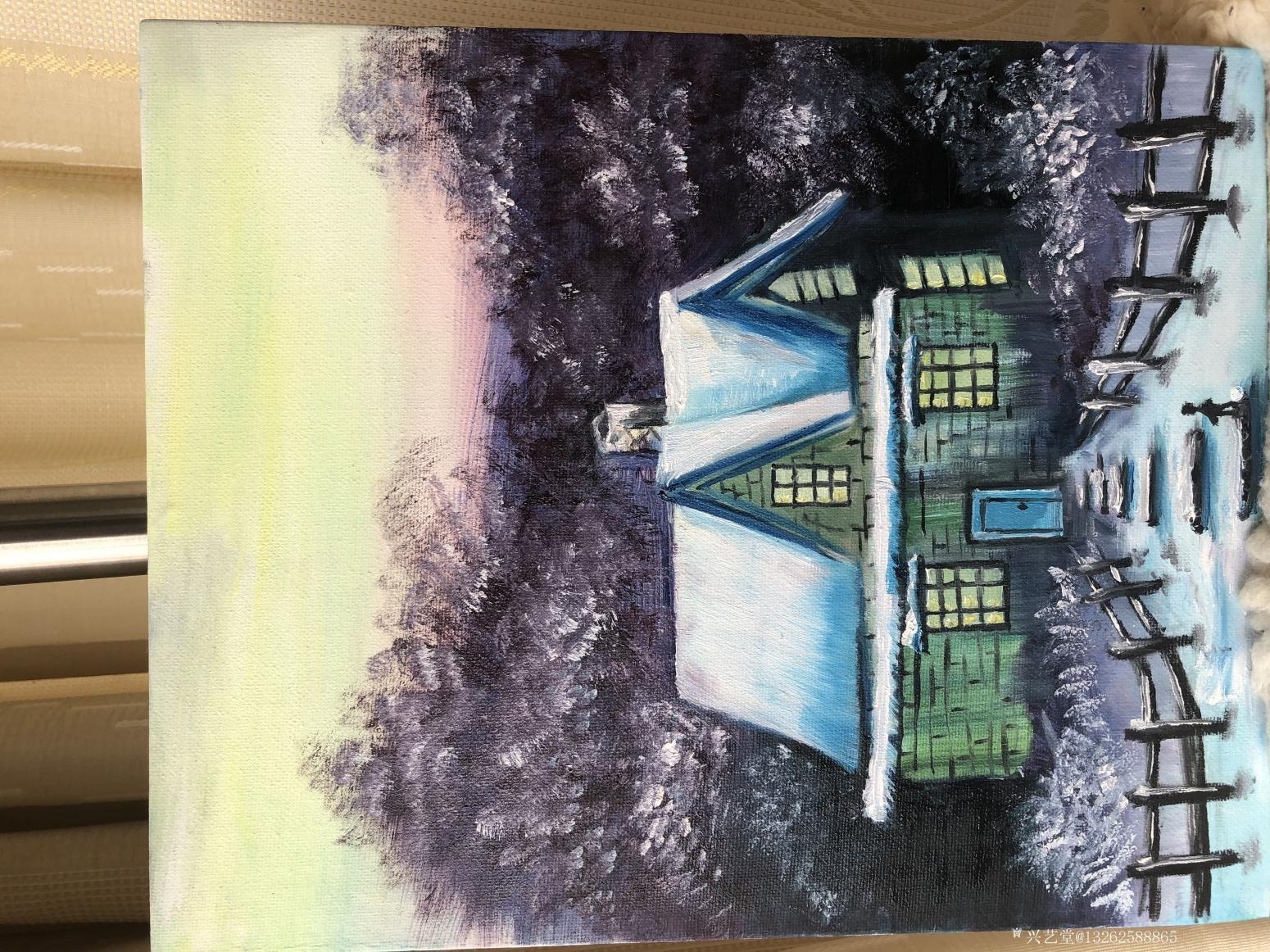 13262588865油画作品《郊外晚上的旅舍》【图0】