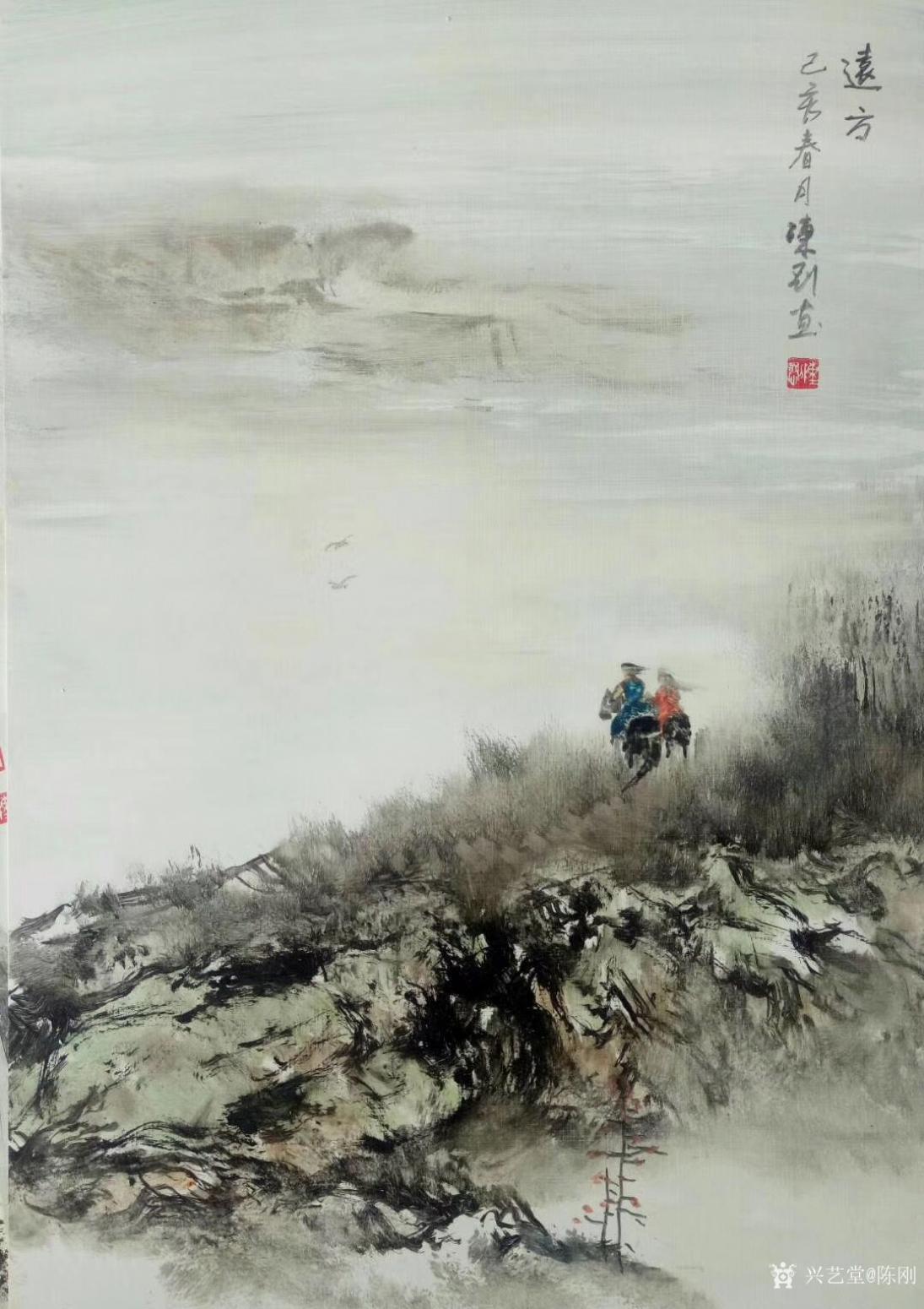 陈刚油画作品《油画山水画-远方》