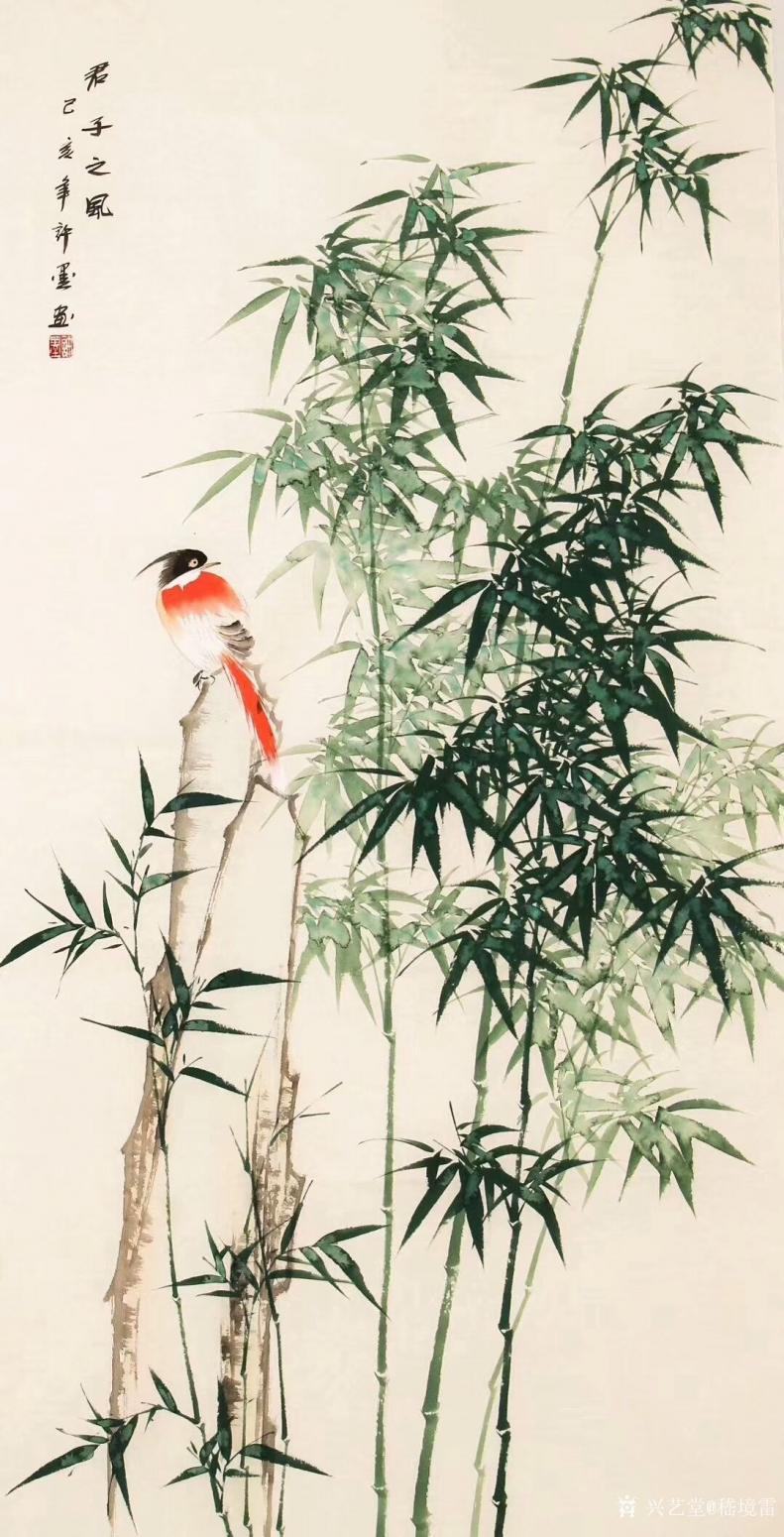 嵇境雷国画作品《竹-君子之风-许墨》