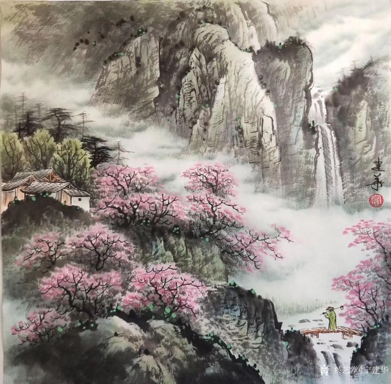 宁建华国画作品《山水-春》