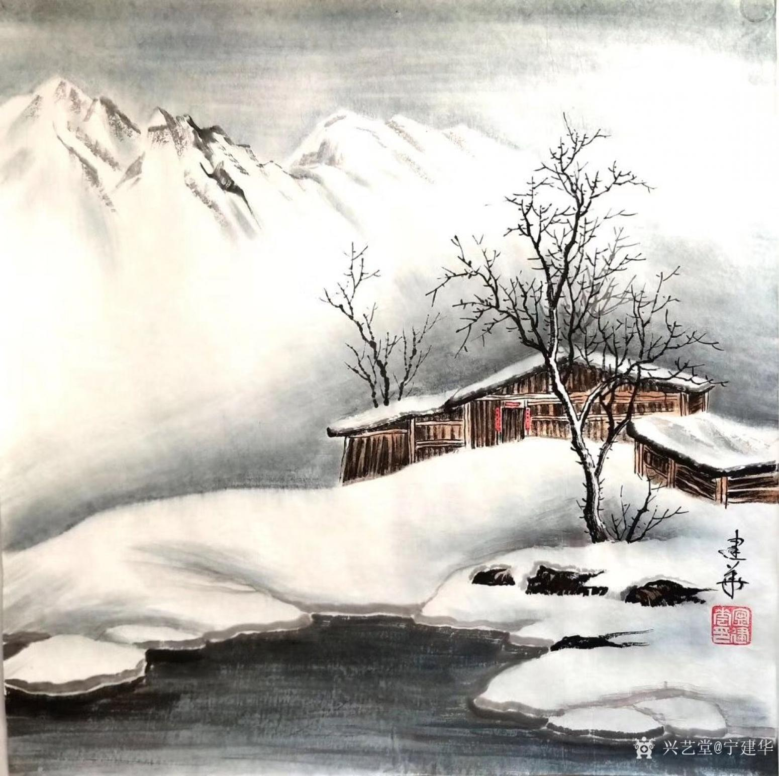 宁建华国画作品《山水-冬》