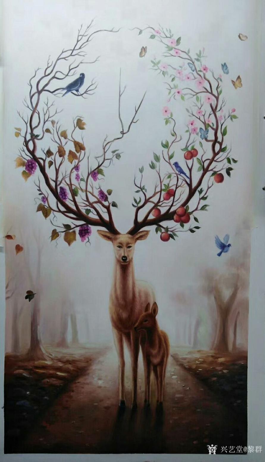 黎群油画作品《神鹿》