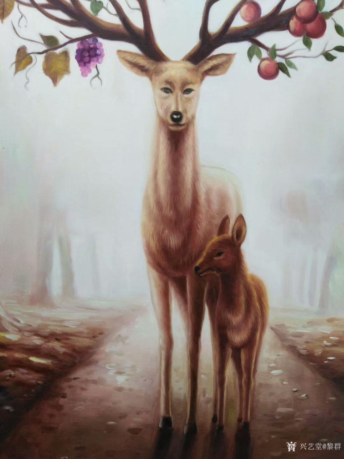 黎群油画作品《神鹿》【图1】