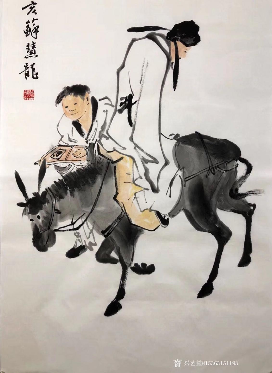 15363151193国画作品《李太白醉酒图》【图0】