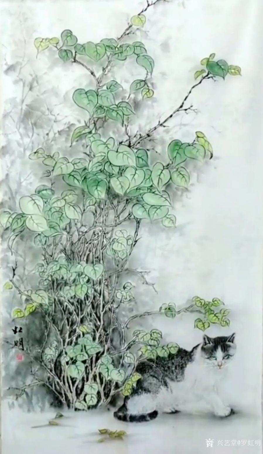 罗虹明国画作品《新绿》