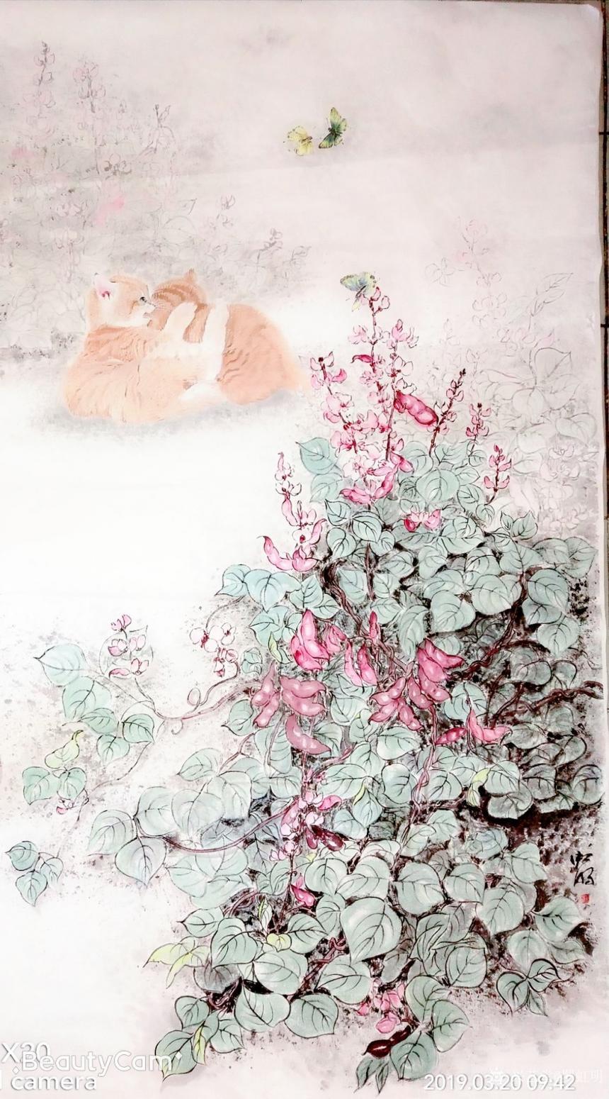 罗虹明国画作品《两小无猜(猫)》