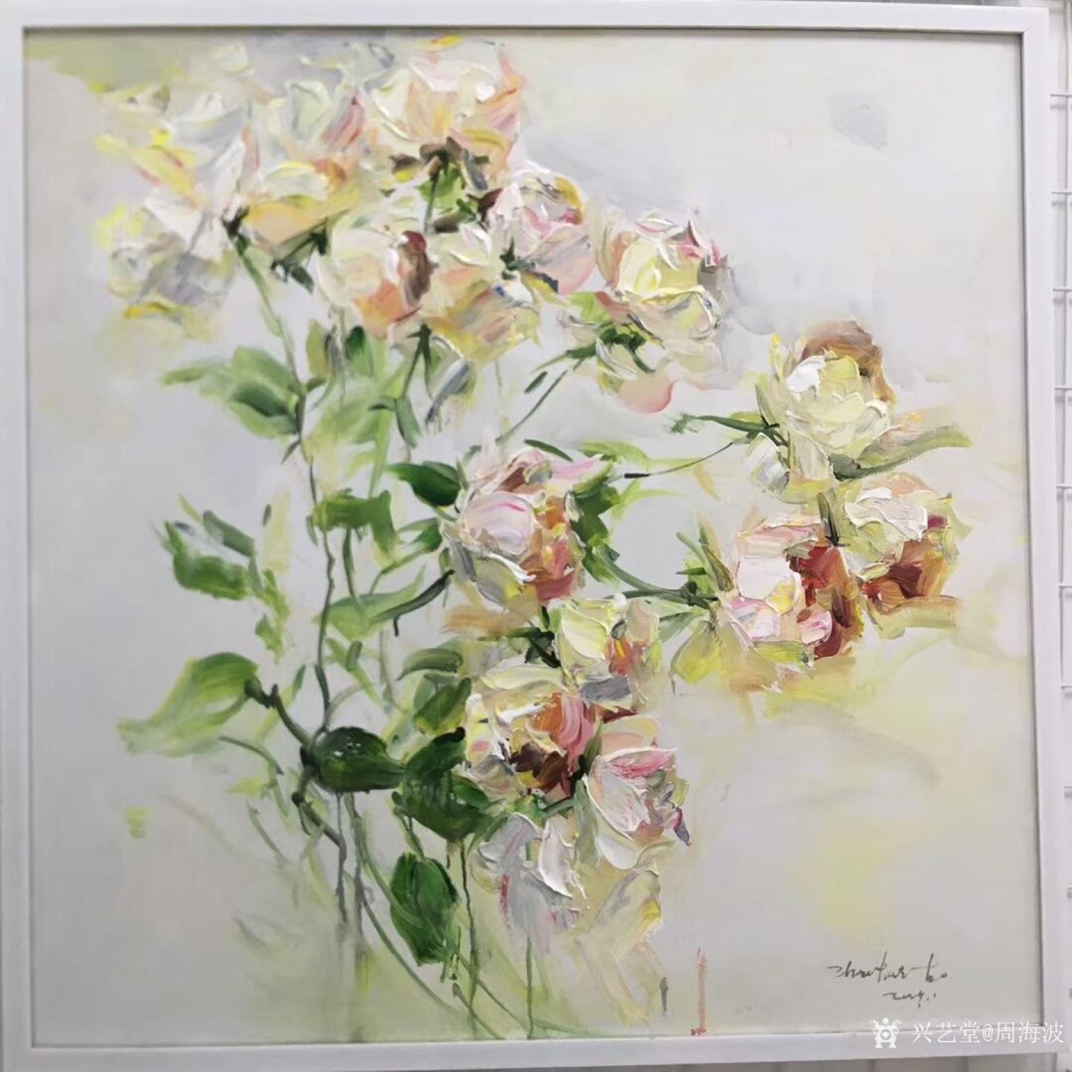 周海波油画作品《北欧风格花卉2》