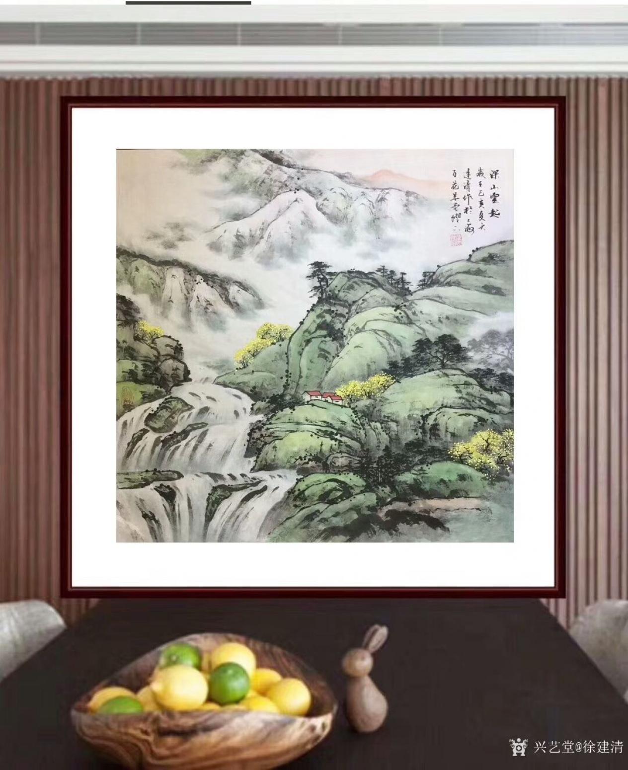 徐建清国画作品《山水画—深山云起》
