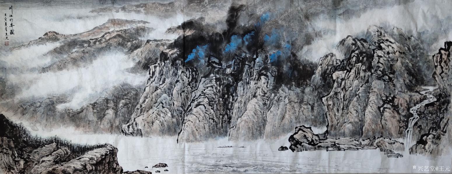王元国画作品《川江行舟图》