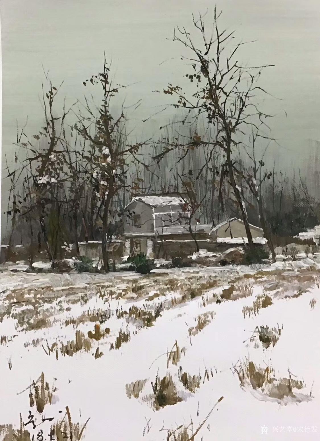 宋德发油画作品《雪原小屋》