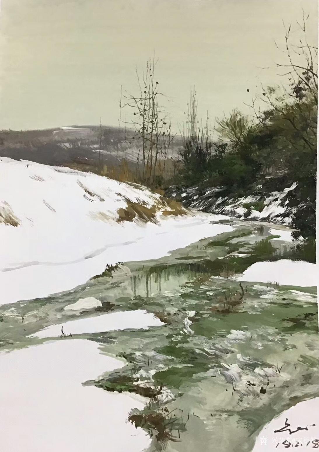 宋德发油画作品《雪后》