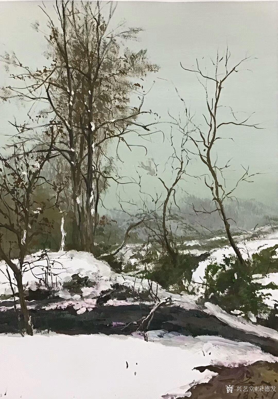宋德发油画作品《傲立冬雪》