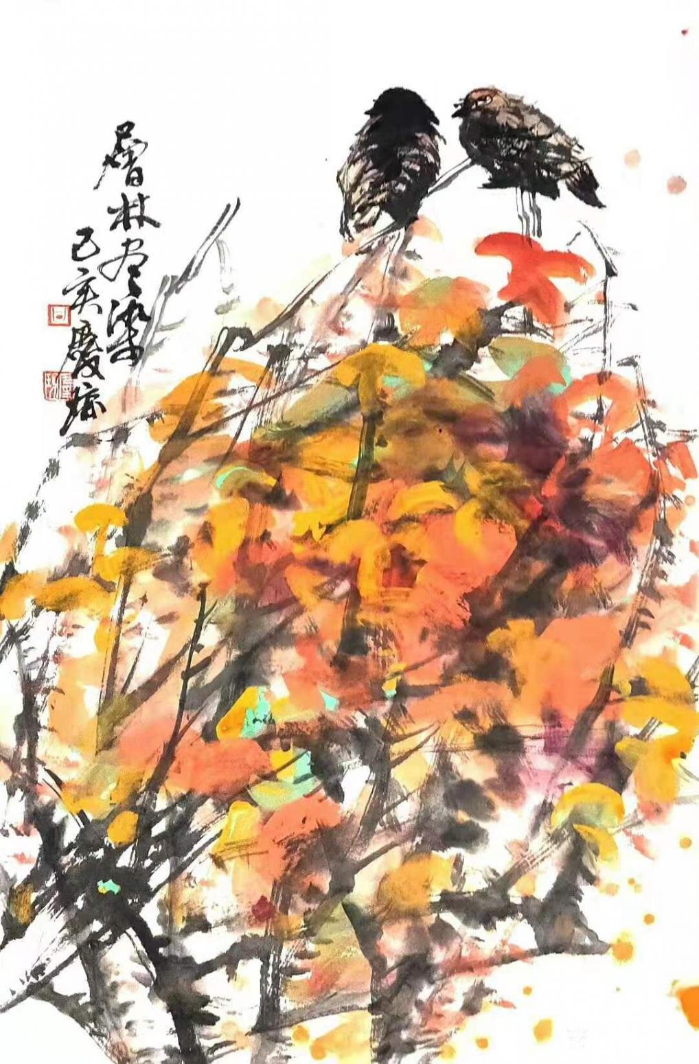 甘庆琼国画作品《花鸟画-层林尽染》【图0】