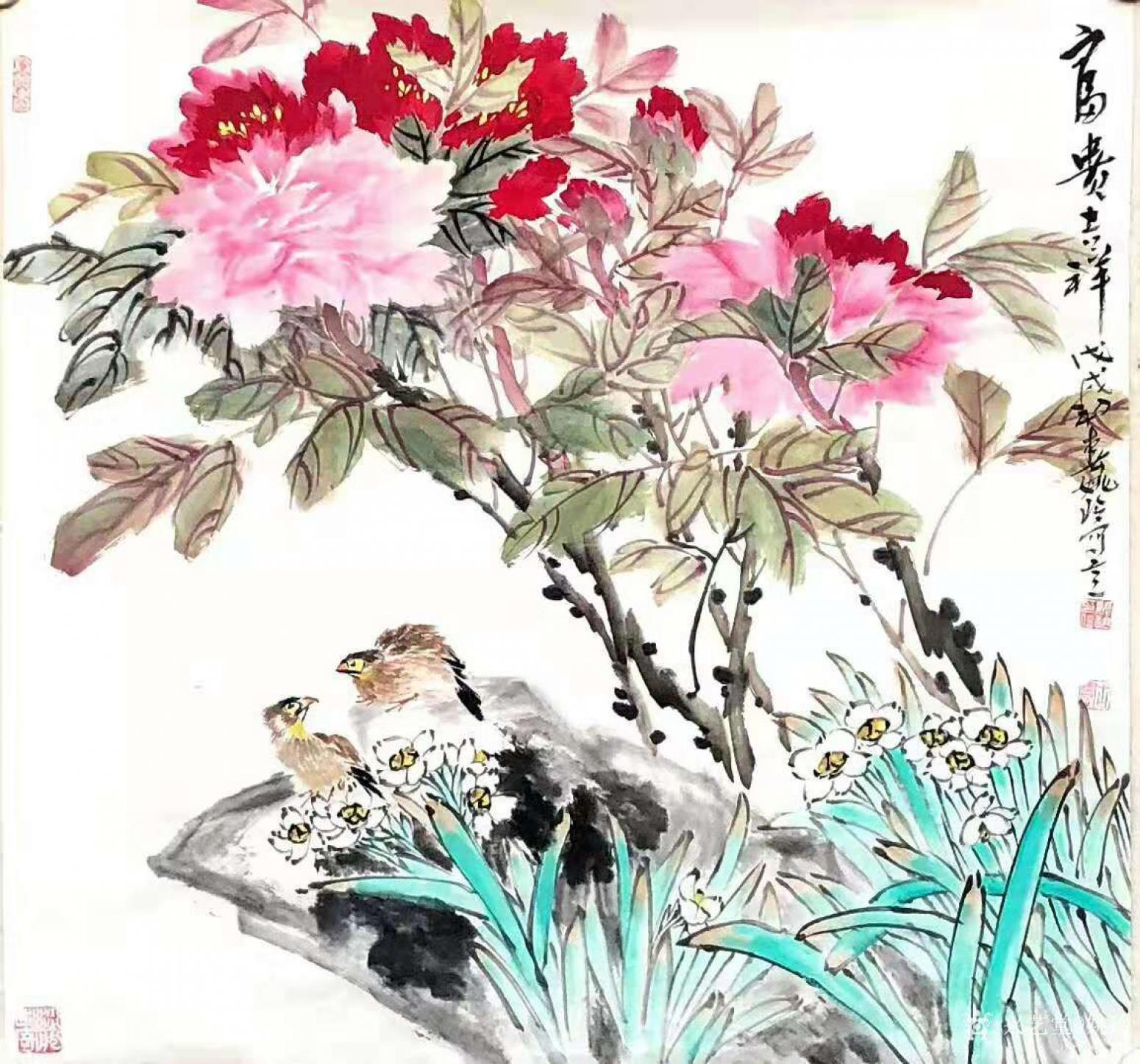 姚玲国画作品《牡丹花--富贵吉祥2》