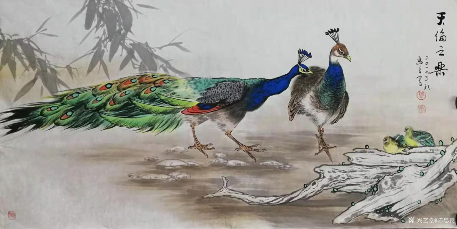 陈忠良国画作品《孔雀-天伦之乐》