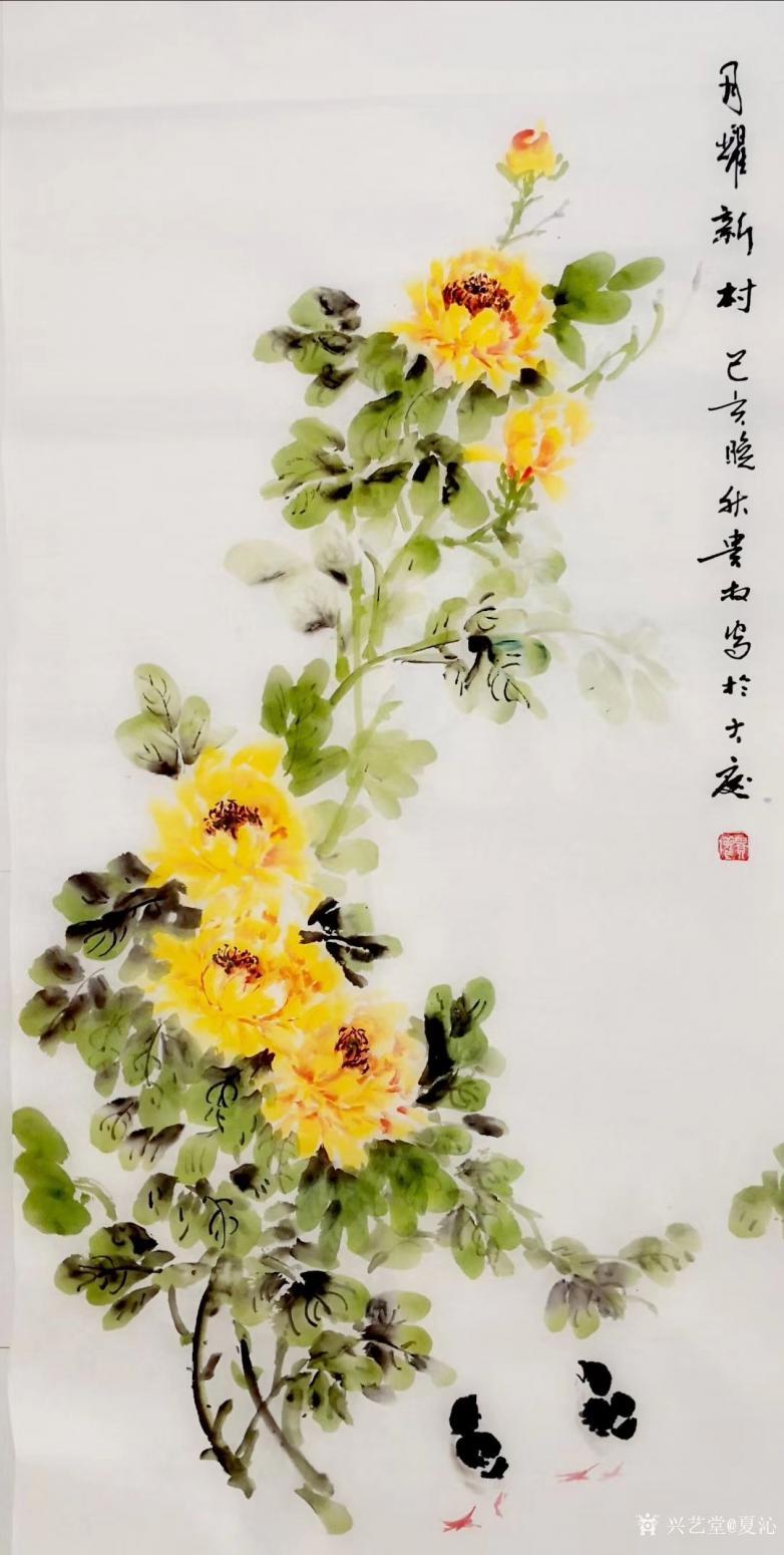 夏沁国画作品《月耀新村》