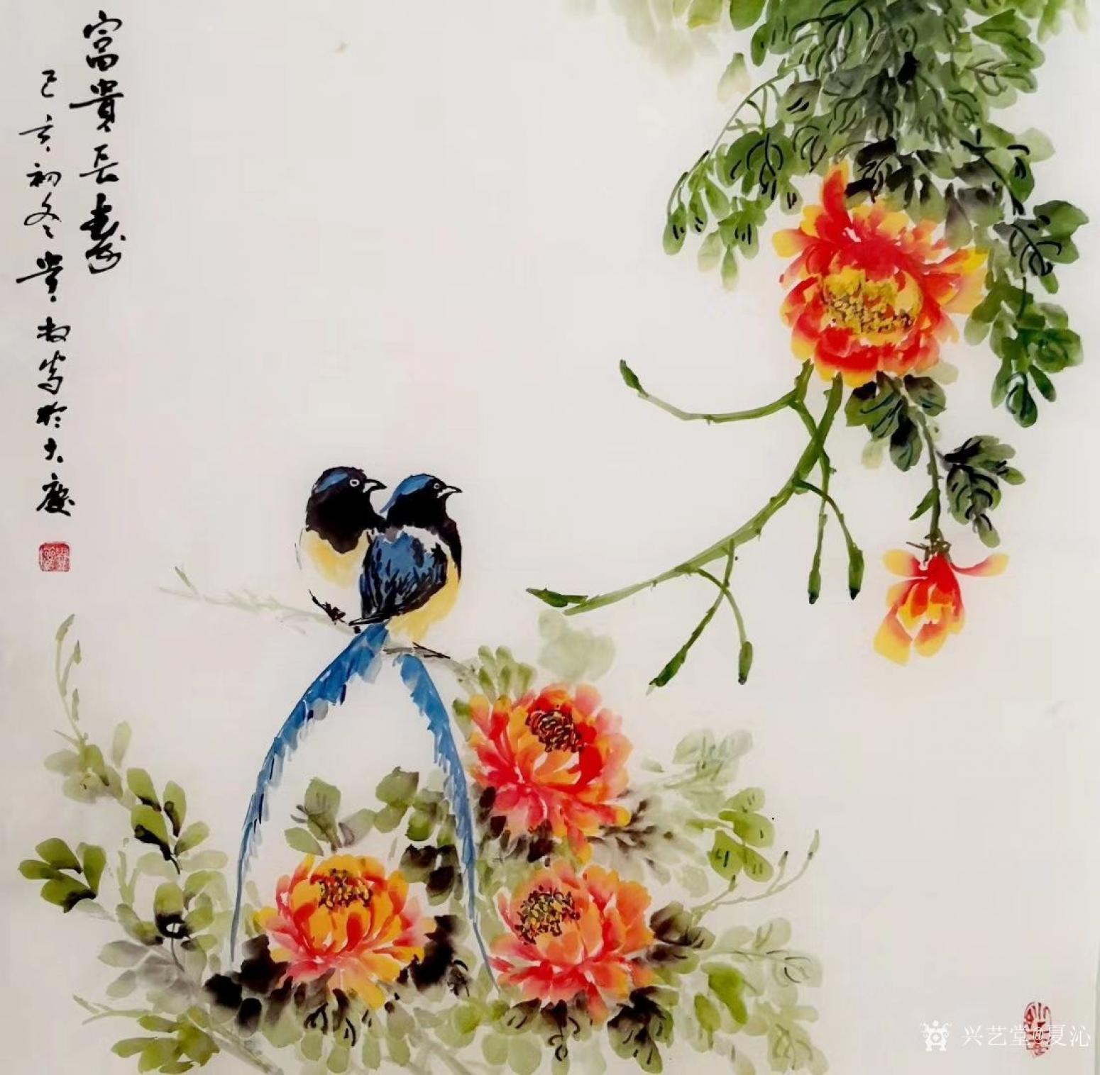 夏沁国画作品《富贵长寿》