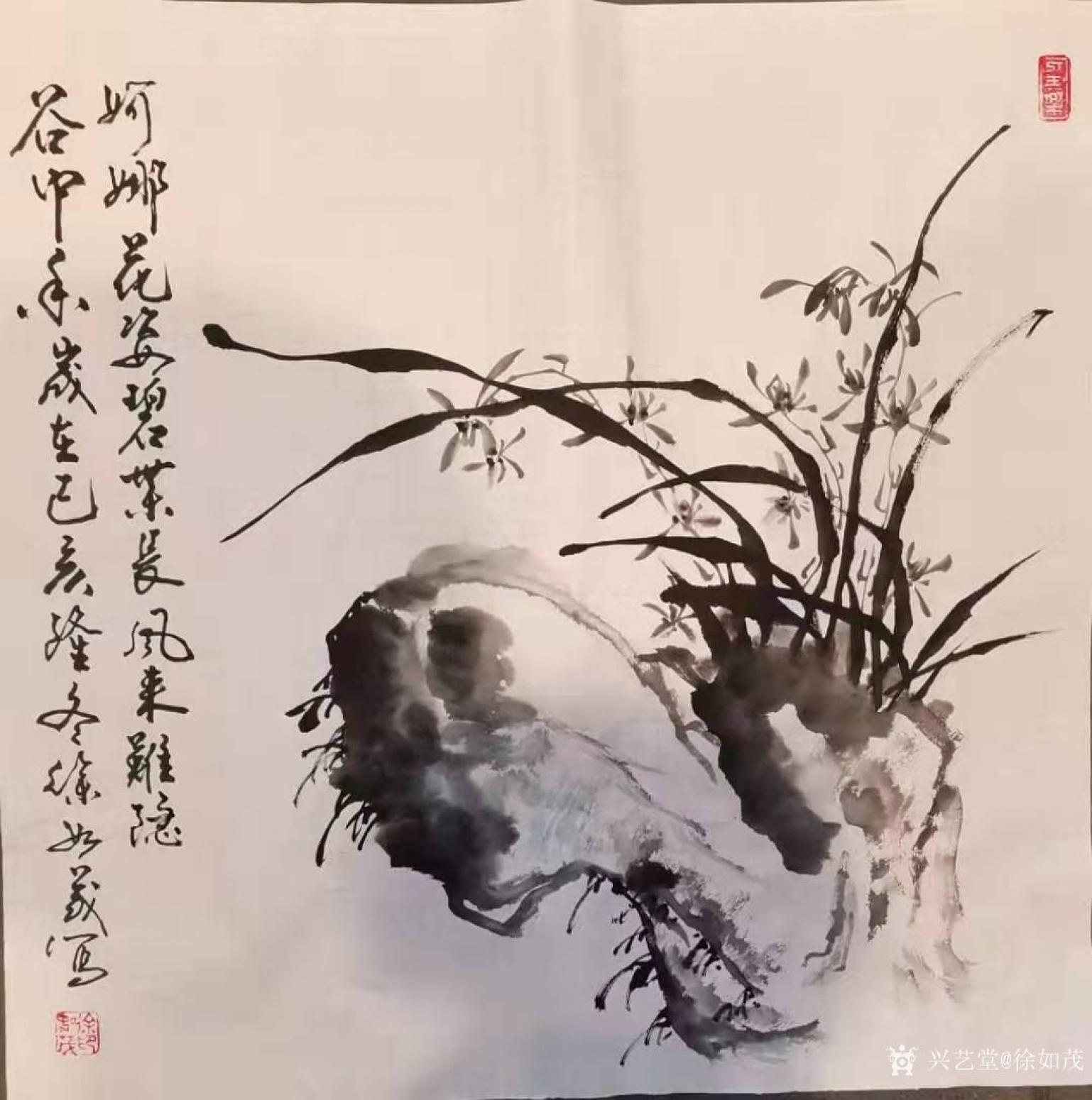 徐如茂国画作品《花鸟-兰花》