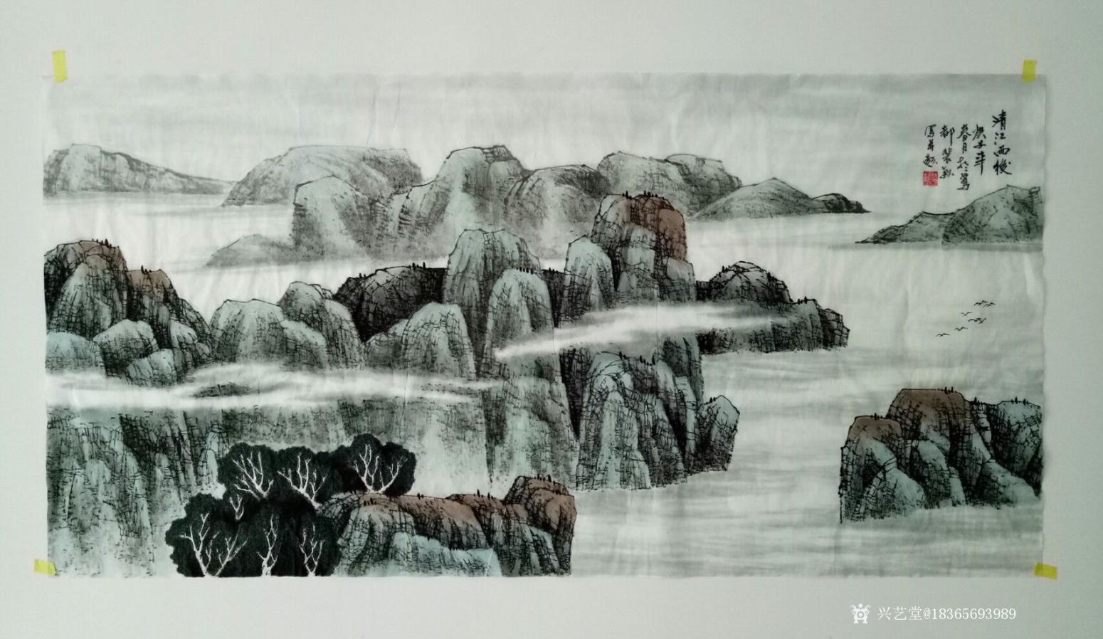 18365693989国画作品《清江雨后.秋韵》【图0】