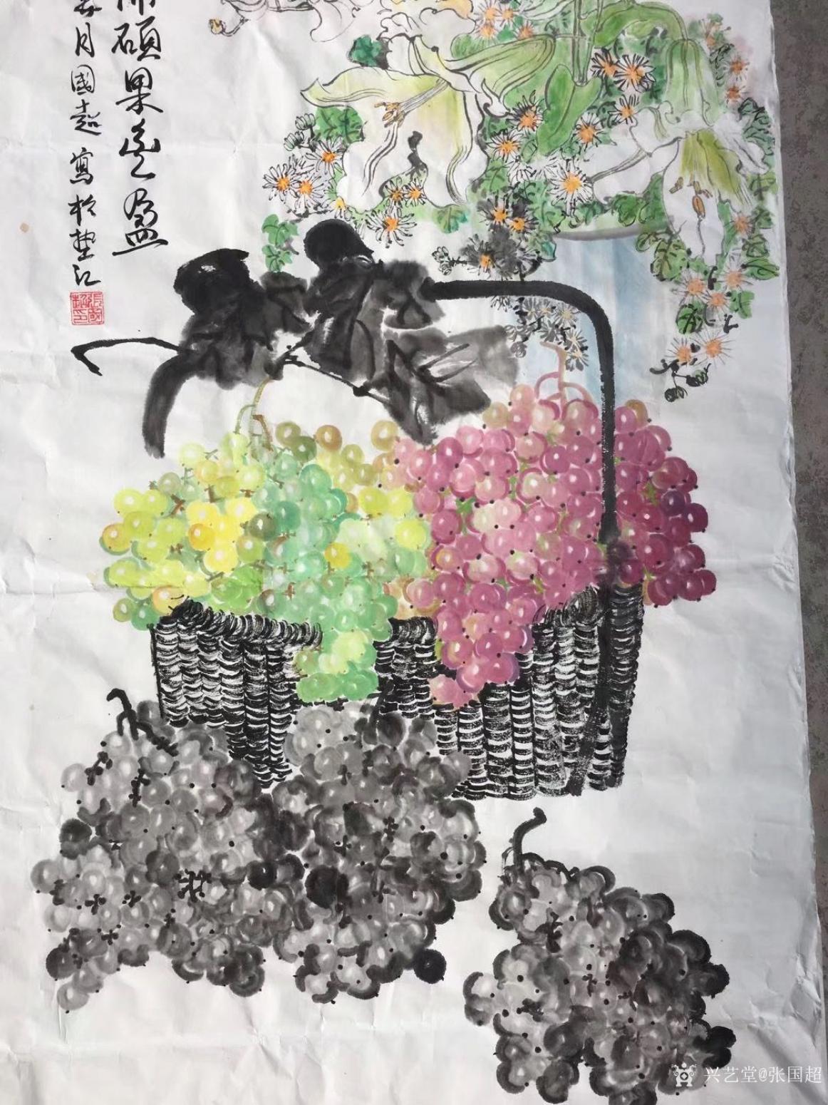 张国超国画作品《鲜花盛开硕果丰盈》【图1】