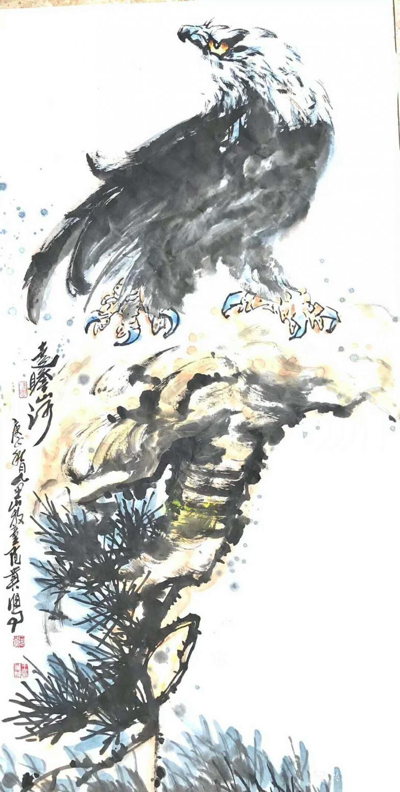 王贵烨国画作品《雄鹰-远瞻山河》