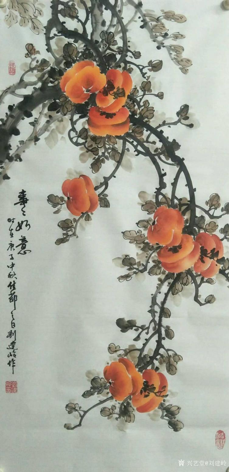 刘建岭国画作品《(柿子)事事如意3》【图0】
