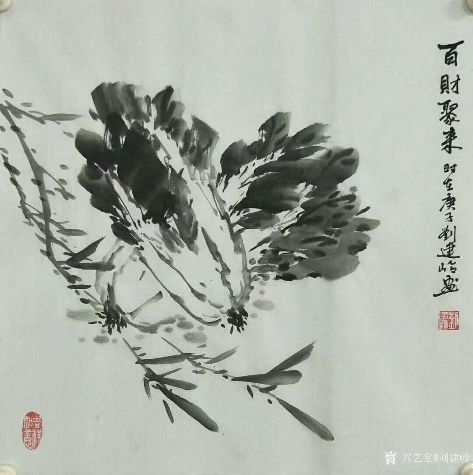 刘建岭国画作品《百财聚来(白菜)》