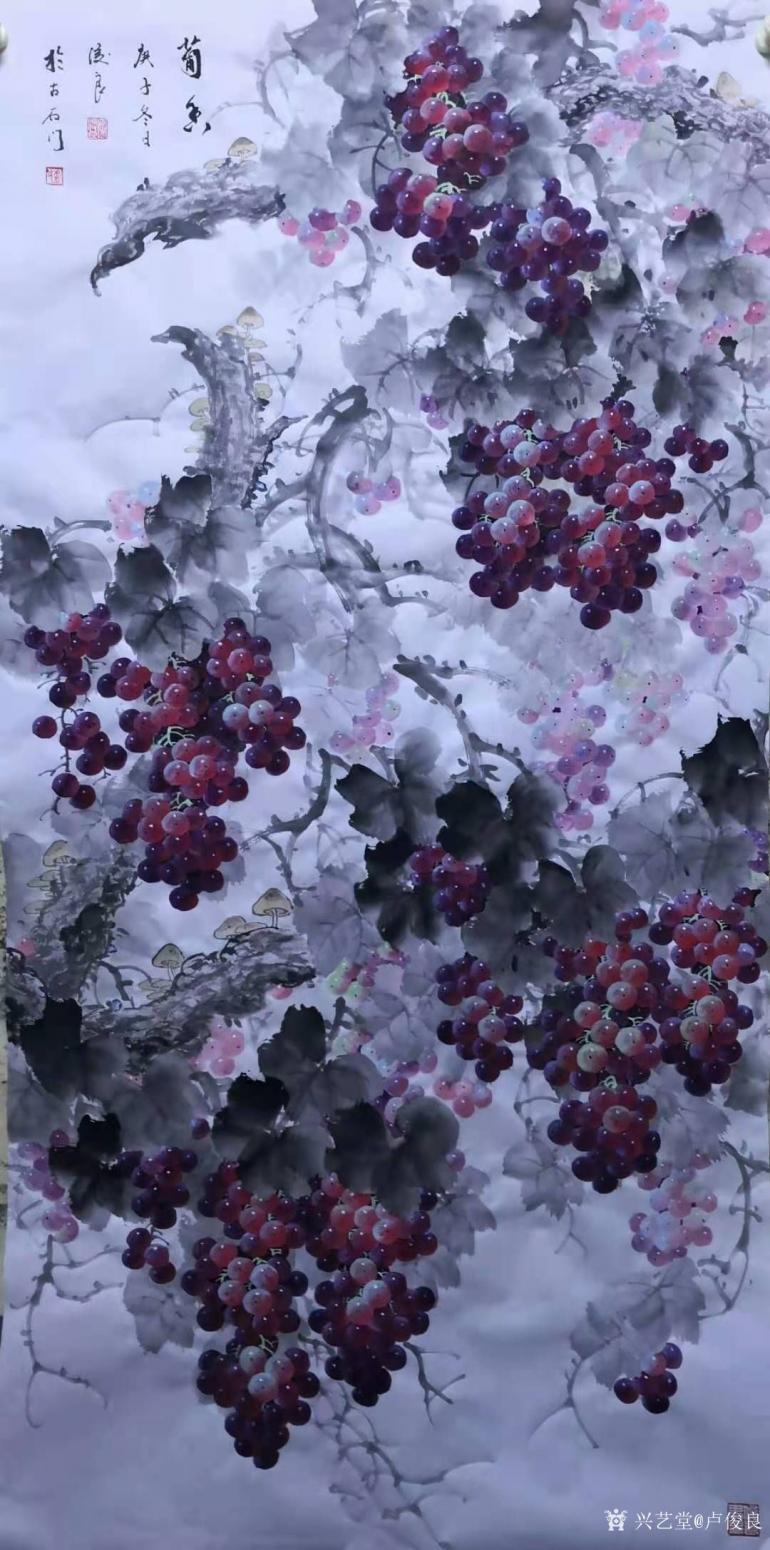 卢俊良国画作品《葡萄-葡香》