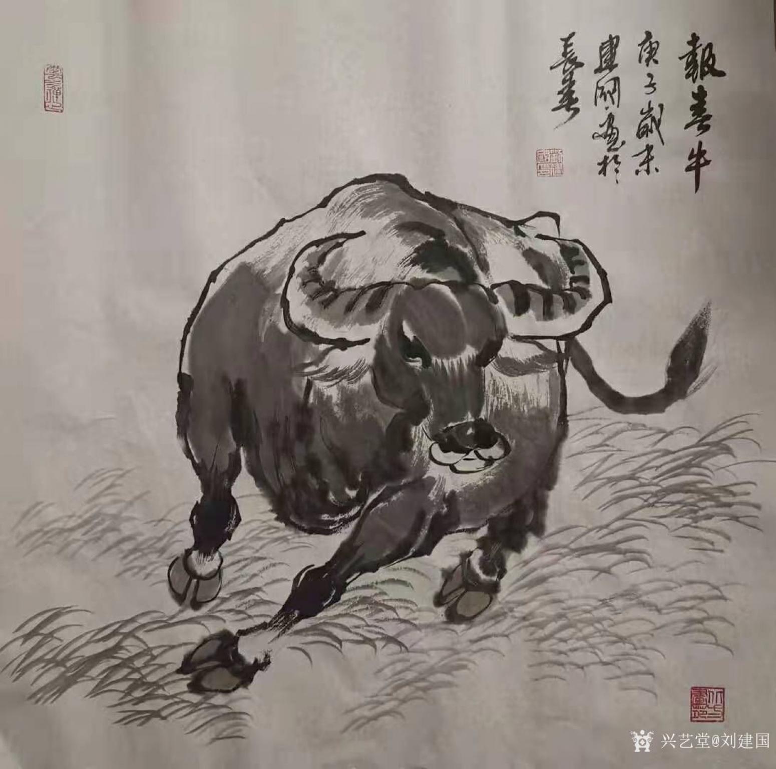 刘建国国画作品《报春牛》