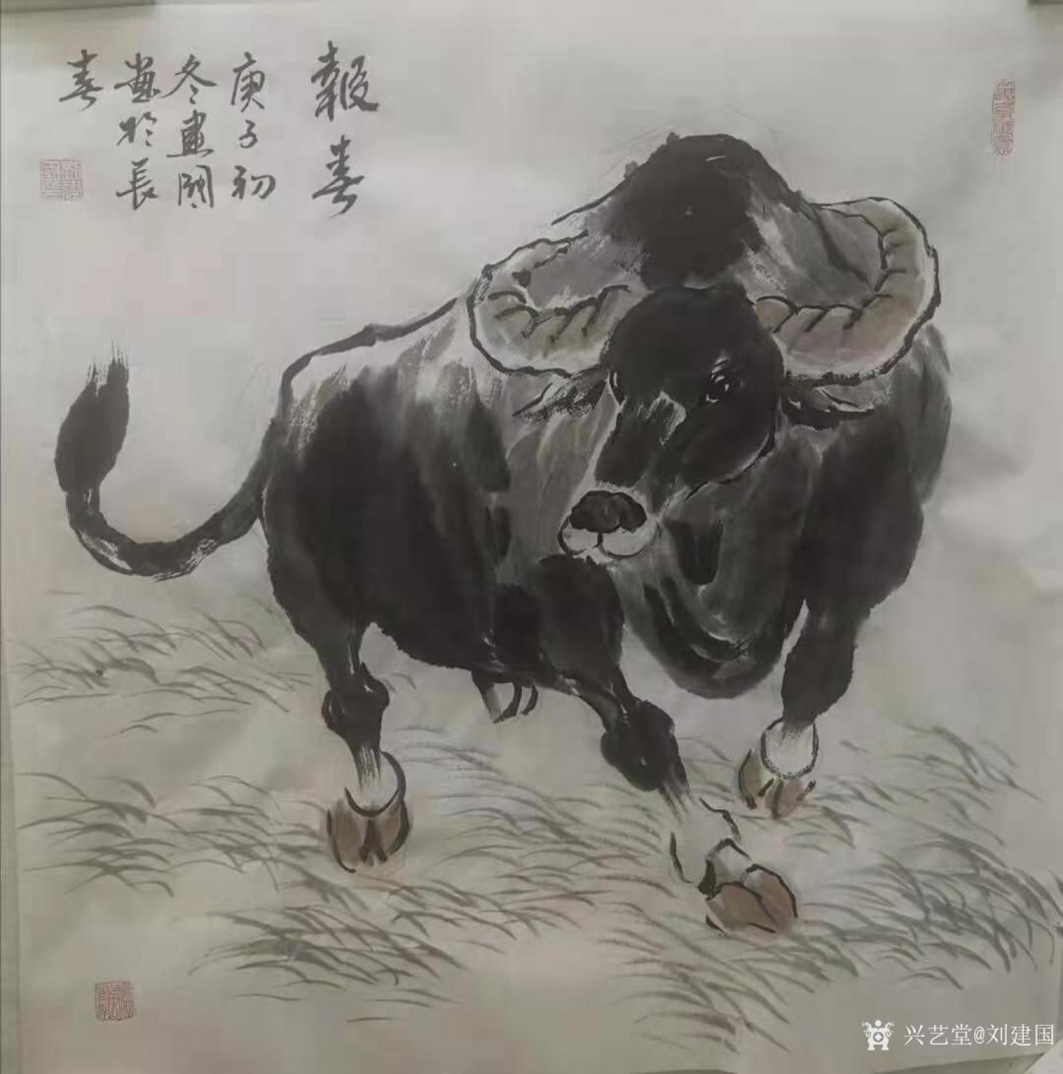 刘建国国画作品《牛-报春》