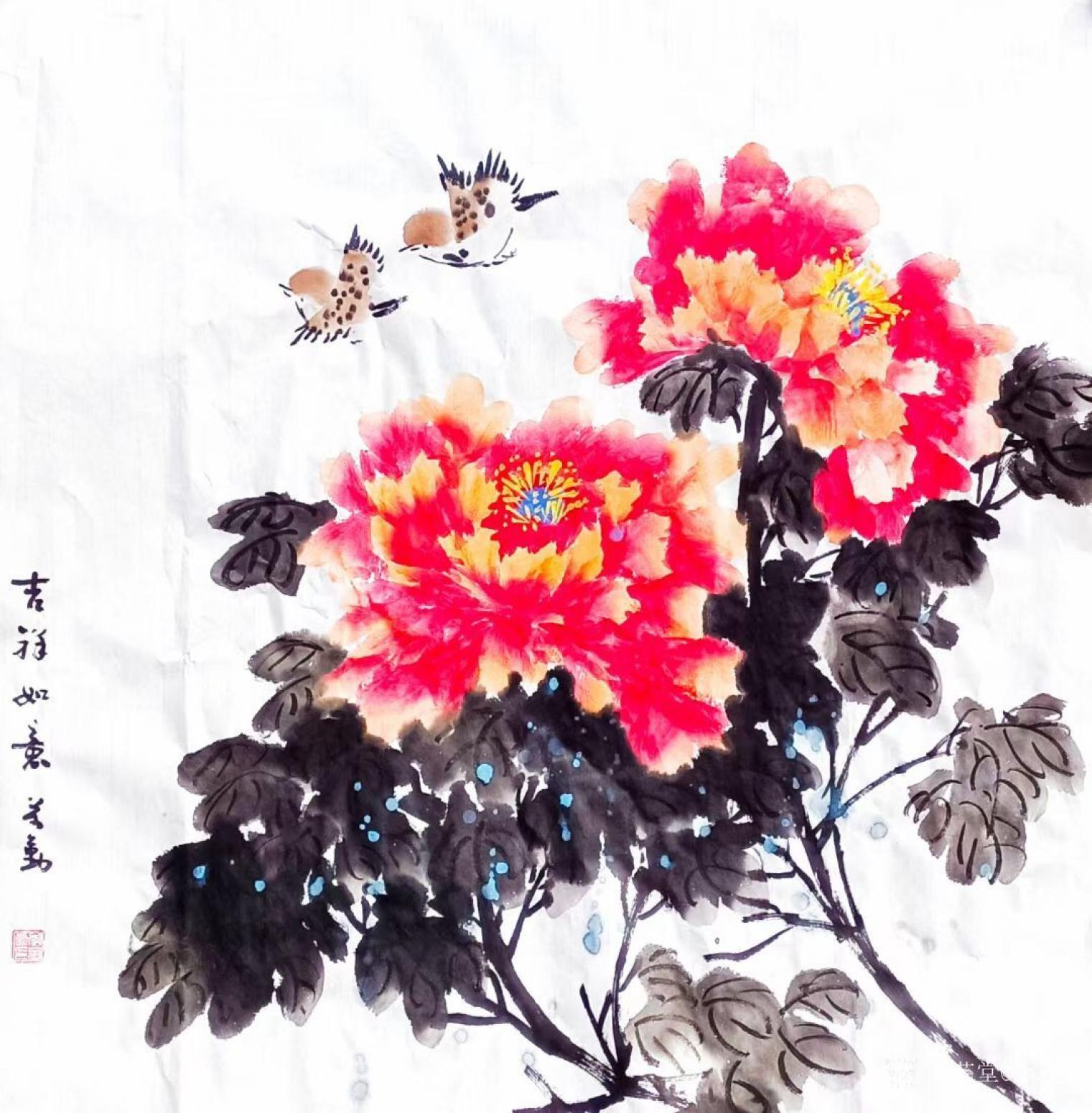 李万勤国画作品《花鸟牡丹-吉祥如意》【图0】